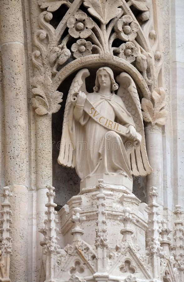 Angel. Statue of Angel on the portal of the cathedral dedicated to the Assumption of Mary in Zagreb stock photo