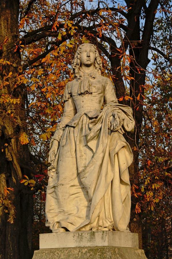 Statue of Anne Marie Louise d`Orléans, Duchess of Montpensier. Statue of Anne Marie Louise d`Orleans, Duchess of Montpensier in Luxembourg garden, Paris stock image