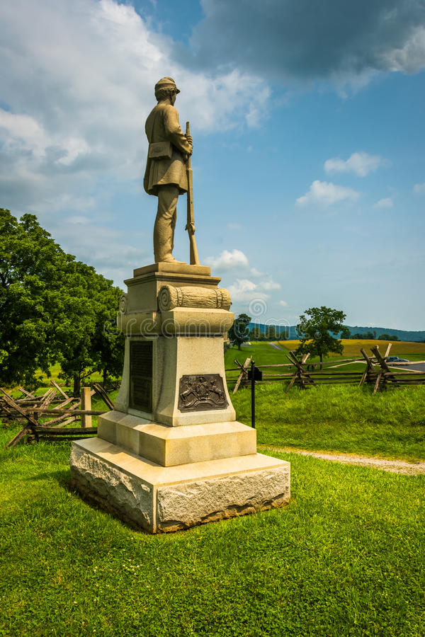 Statue at Antietam National Battlefield, Maryland. The historic Joseph Poffenberger Farm at Antietam National Battlefield, Maryland royalty free stock photography