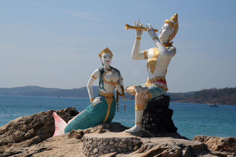Statue of Aphai Mani and mermaid. During the 19th century the poet Sunthorn Phu (1786–1855), set part of his epic work, Phra Aphai Mani (sometimes stock images