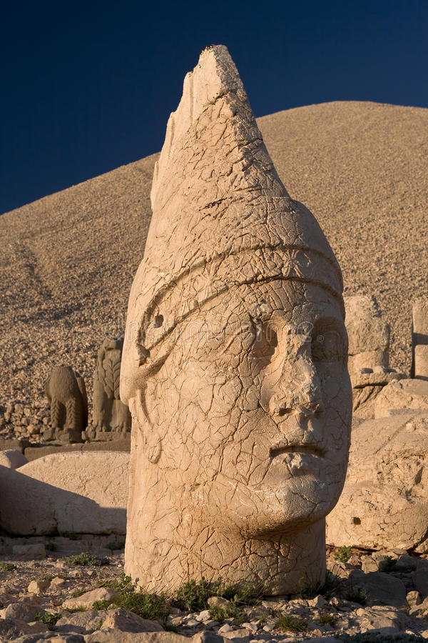 Statue of Apollo. Turkey. The head of Apollo on the top of Nemrut Dagi (the western terrace). This site was added to UNESCO's World Heritage list in 1987 royalty free stock image