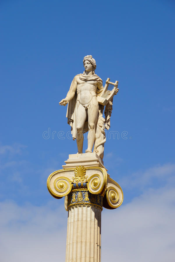 Statue of Apollo,Academy of Athens,Greece. Statue of Apollo,Academy of Athens in Greece stock photography