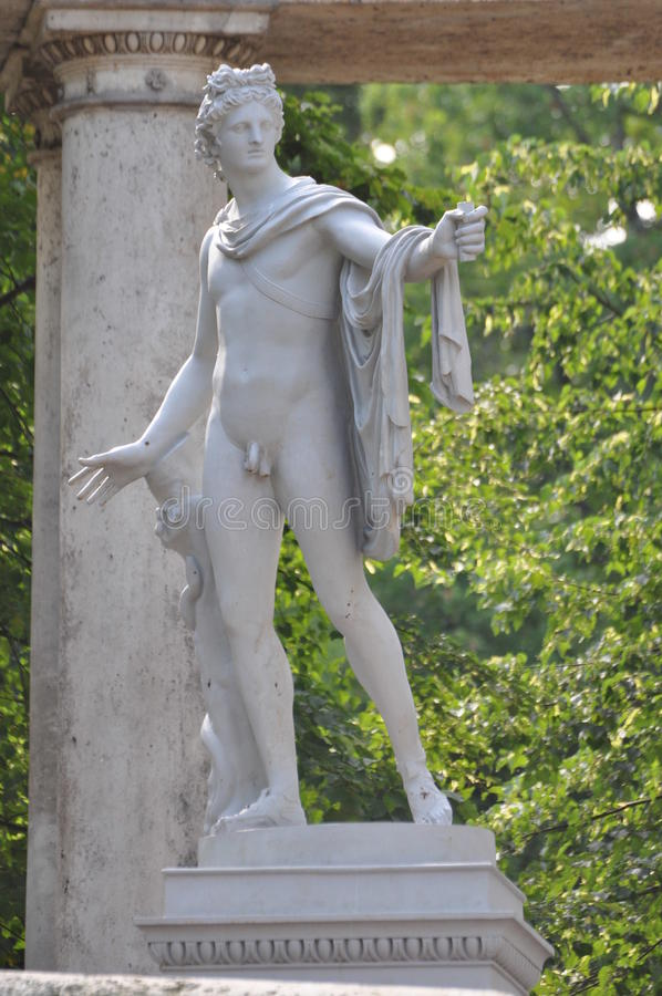 Statue of Apollo. In Pavlovsk park in summer stock photography