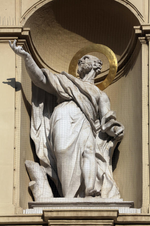 Statue of apostle, Church of Saint Peter in Vienna stock photos