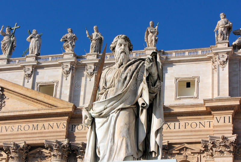 Statue of Apostle Paul with a sword in St. Peter's Square, Rome stock photo