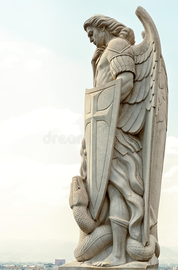 Statue of the Archangel Michael near the Basilica of Guadalupe i. Statue of the Archangel Michael stands on top of Tepeyac Hill near the Basilica of Guadalupe in royalty free stock photos
