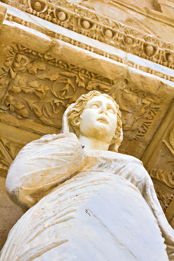 Statue of Arete at Celcus library in Ephesus. Turkey royalty free stock photos
