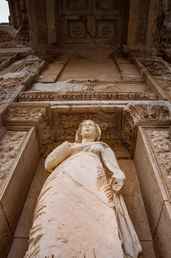 The statue of the ARETE represents the virtue and character. Celsus Library detail, Ephesus, Turkey. The ancient city is listed as a UNESCO World Heritage Site stock photos