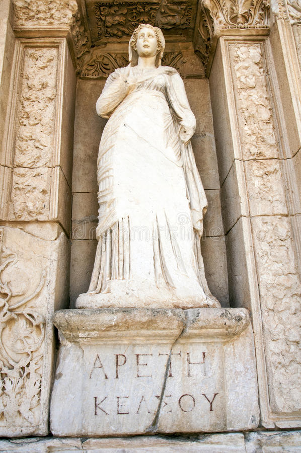 Statue of Arete, in the wall of the Celsus Library, Ephesus. Turkey royalty free stock photography