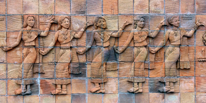 Statue asiatique en pierre de femme images libres de droits