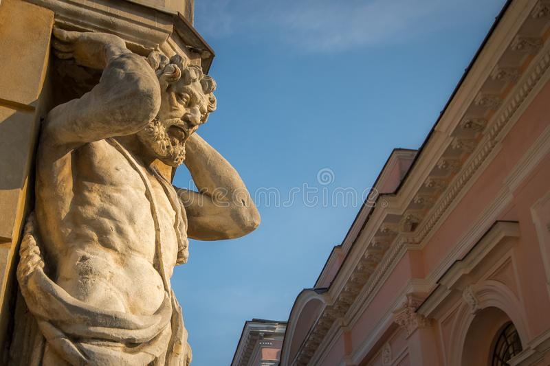 Statue of Atlas, Nitra, Slovakia. Statue of Atlas. Also called Corgon. The sculpture is a famous landmark and symbol of Nitra, Slovakia stock photography