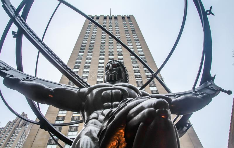 The Statue of Atlas holding the celestial spheres in front of the Rockefeller Center, stock images