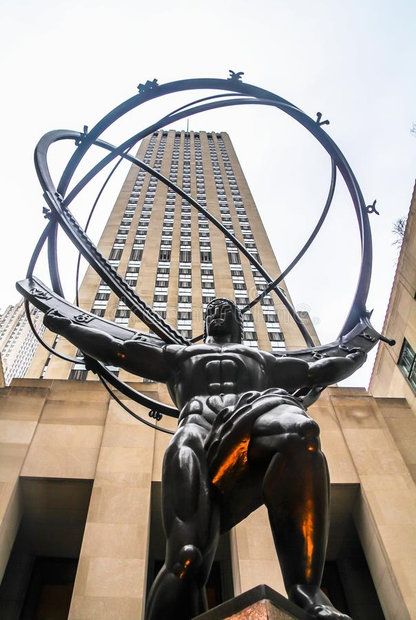 The Statue of Atlas holding the celestial spheres in front of the Rockefeller Center, stock photo