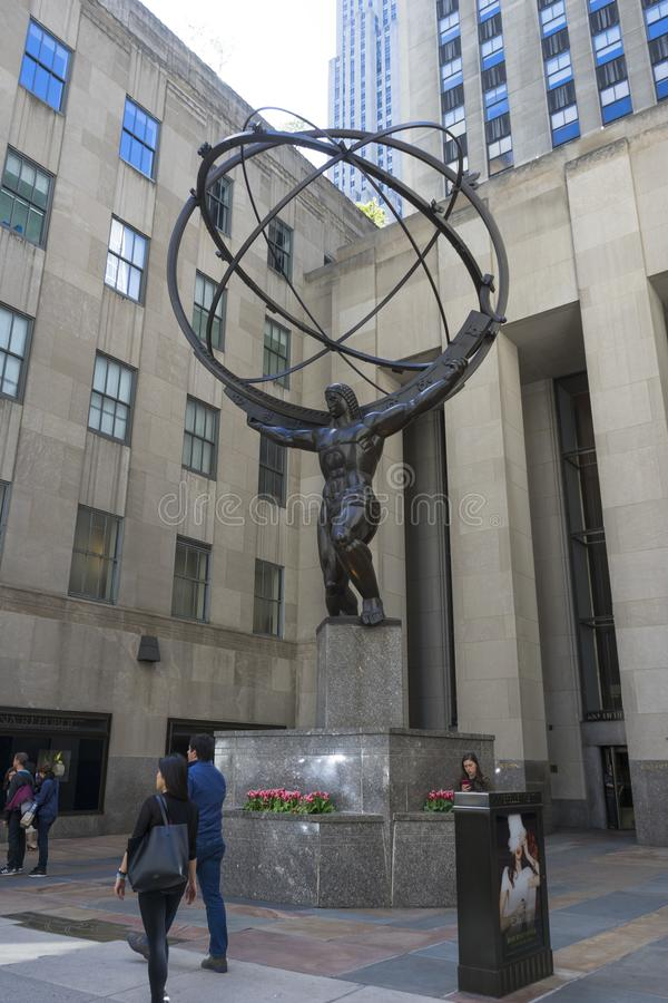 The Statue of Atlas holding the celestial spheres in New York City`s Fifth Avenue stock photography