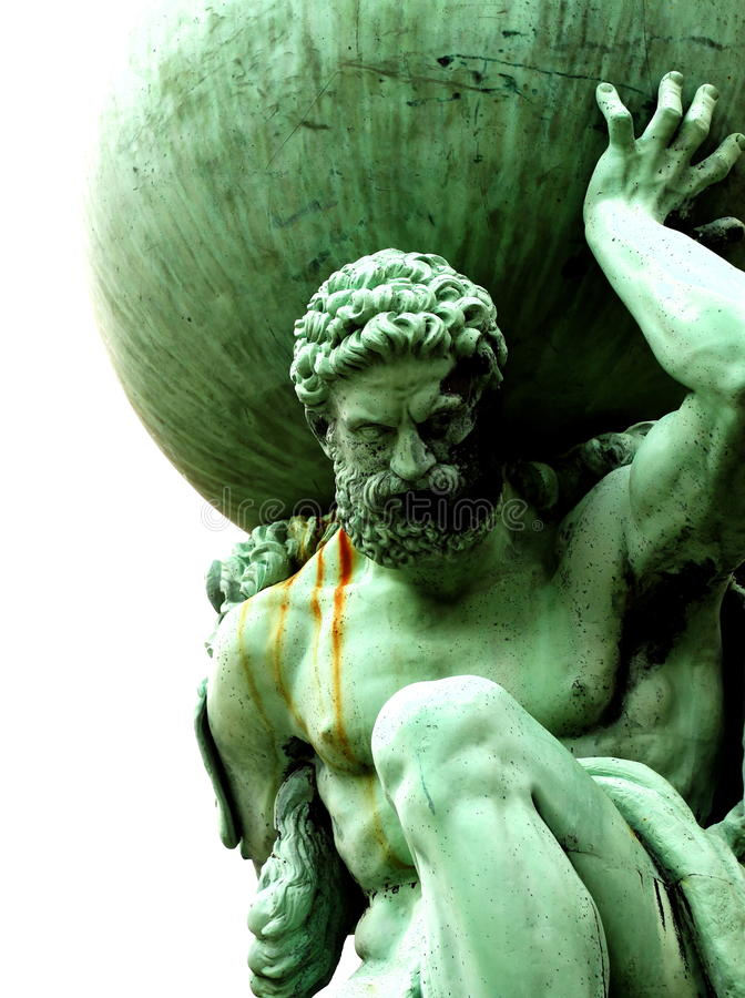 Statue of Atlas. Photograph of a statue of Atlas holding globe stock image