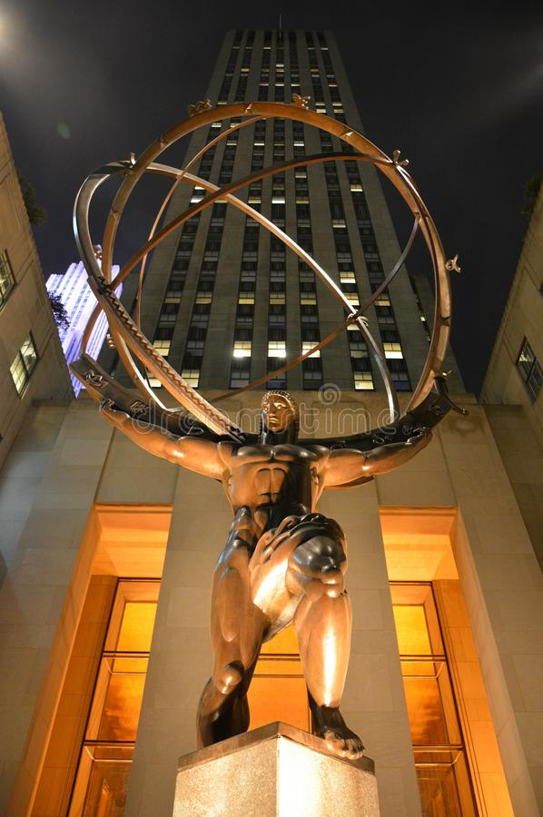 Statue of Atlas at Rockfeller Center in New York City royalty free stock photography