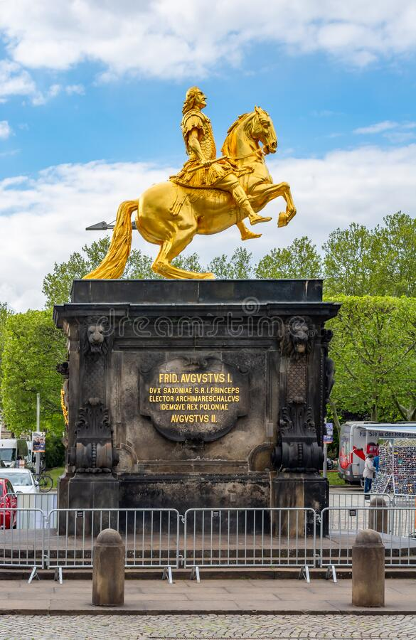 Statue of Augustus the Strong Golden Rider, Dresden, Germany. Dresden, Germany - May 2019: Statue of Augustus the Strong Golden Rider royalty free stock images
