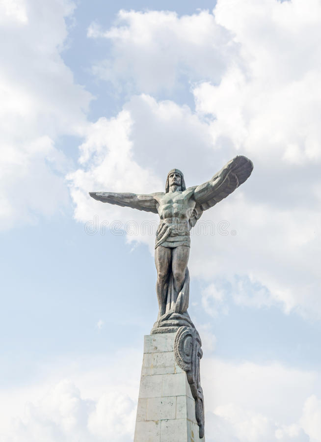 The Statue of Aviators. Build by Lidia Kotzebue and Iosif Fekete, is 20 meters high from Bucharest, Romania stock photography