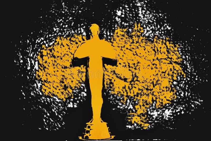 Statue award. Golden statue award. Illustration of golden statue award. Black yellow background stock illustration