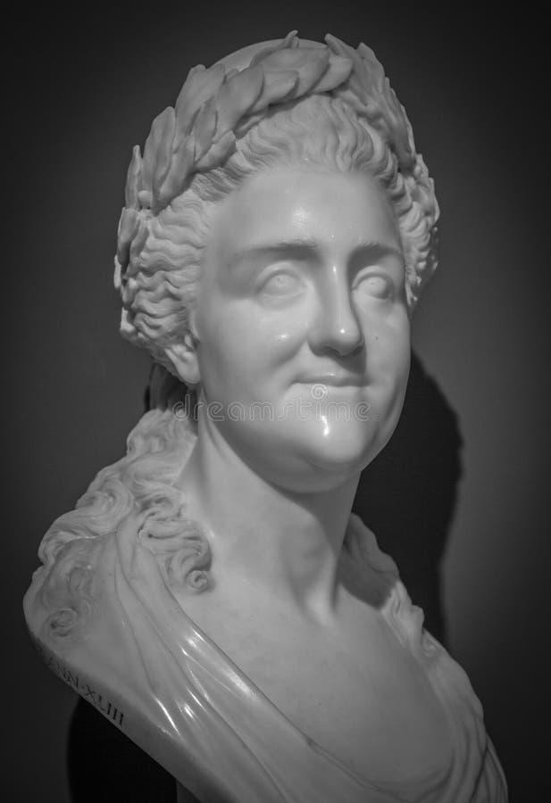 Statue-Büste von Kaiserin Catherine the Great zu Catherine Grand Palace in Tsaritsyno lizenzfreies stockbild
