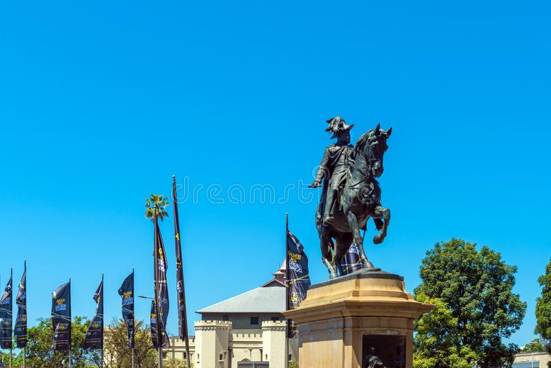 Statue on a background of blue sky, Sydney, Australia. Copy space for text royalty free stock photo