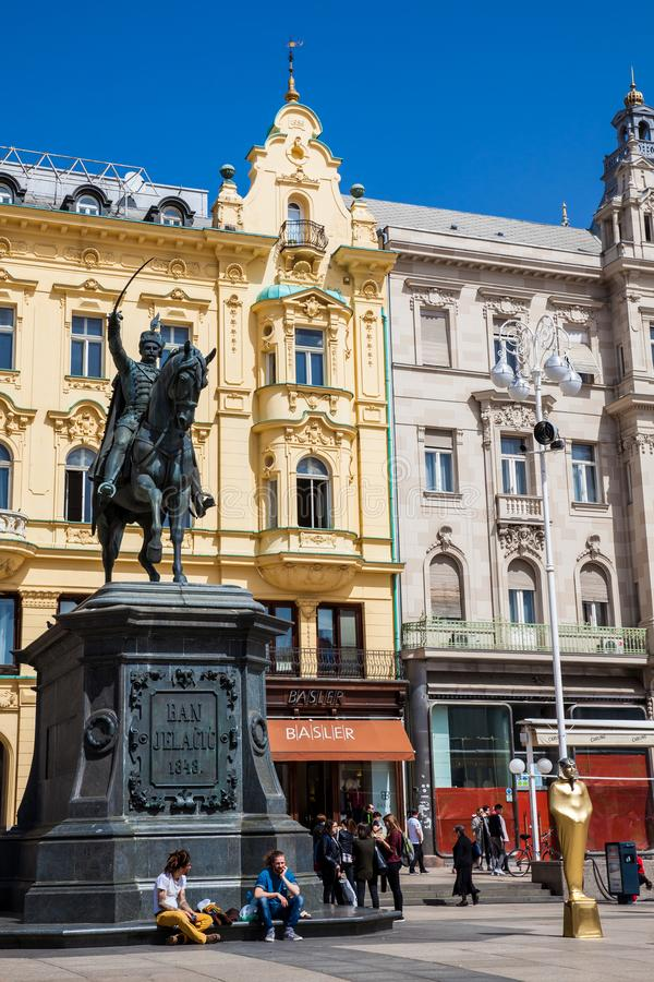 Statue of Ban Jelacic erected on1866 and the beautiful facades of the buildings on the main city square in Zagreb royalty free stock images