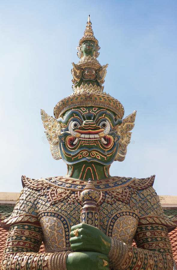 Statue an Bangkok-Tempel stockbilder