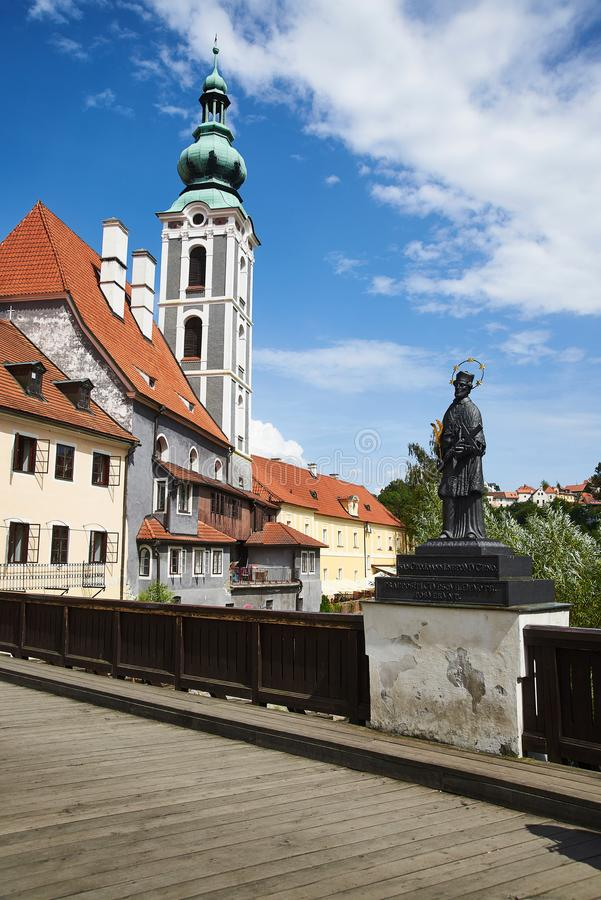 Statue on Barber`s Bridge, Cesky Krumlov stock photo