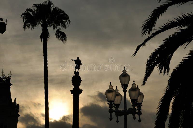 Statue Barcelonas Columbus bei Sonnenuntergang stockfotos