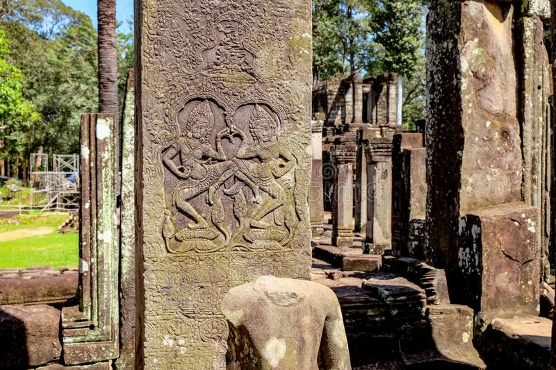 Statue in the Bayon temple stock photography