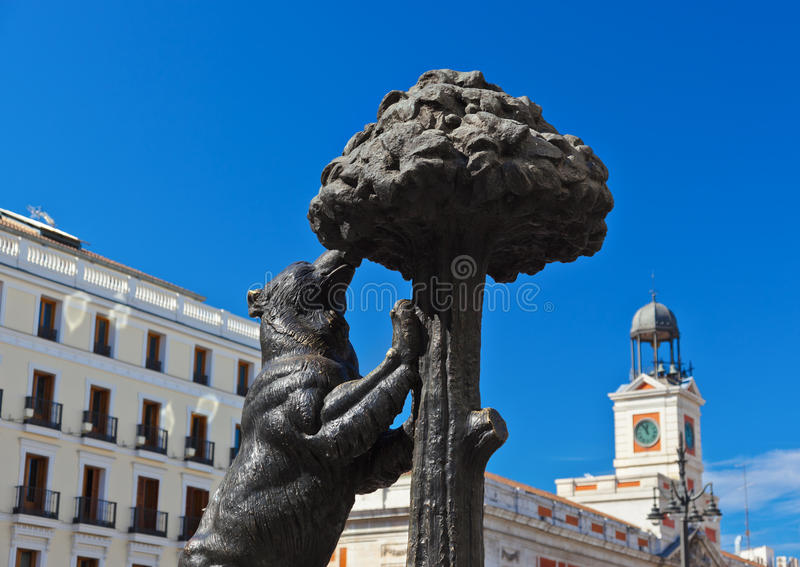 Statue of Bear and strawberry tree - symbol of Madrid royalty free stock image