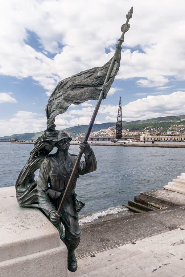 The statue of the Bersagliere in Piazza Unità d`Italia in Trieste, Friuli Venezia Giulia, Italy royalty free stock images
