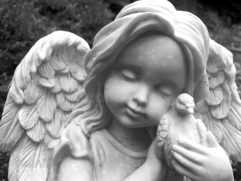 Statue, Black And White, Classical Sculpture, Angel royalty free stock photography