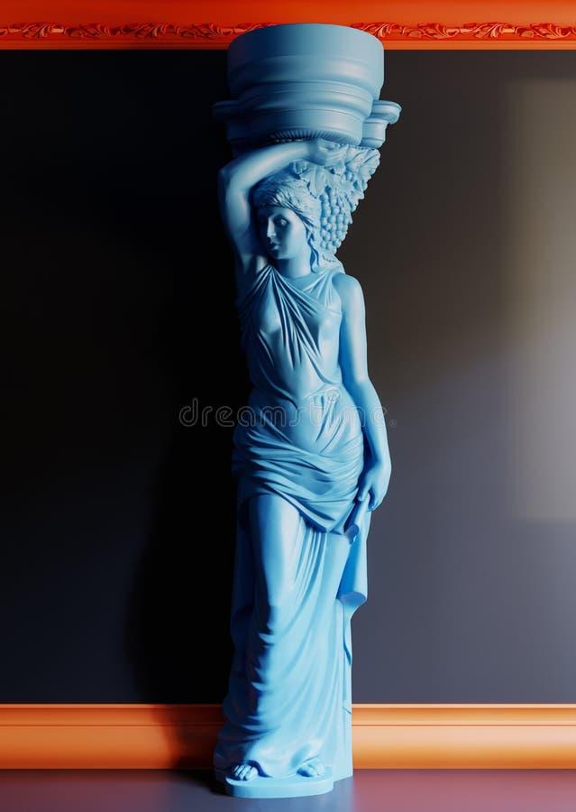 Statue bleue avec le mur noir photographie stock