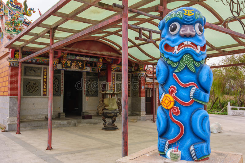 Statue of a blue guardian lion. Statue of guardian lion in Kinmen, Taiwan royalty free stock image