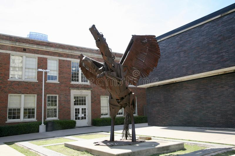 Statue at the Booker T. Washington Performing Arts School. Booker T. Washington High School for the Performing and Visual Arts is a public secondary school stock image