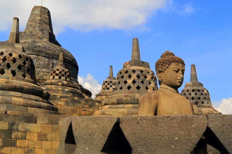 Statue in Borobudur Tample. Statue in the opened stupa in Borobudur Tample stock photo