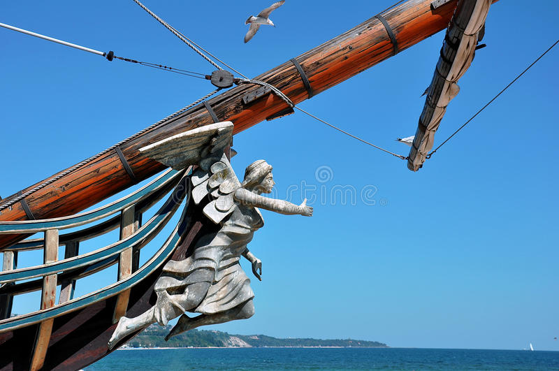 Statue on the bow of a ship royalty free stock photo