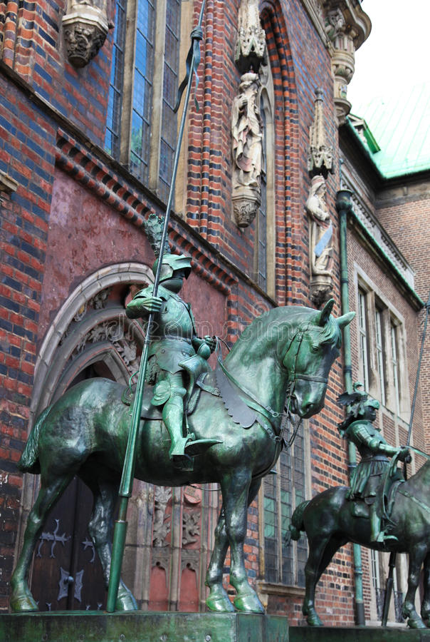 Statue in Bremen. Statue of a knight at the Town Hall of Bremen, northwestern Germany royalty free stock photos