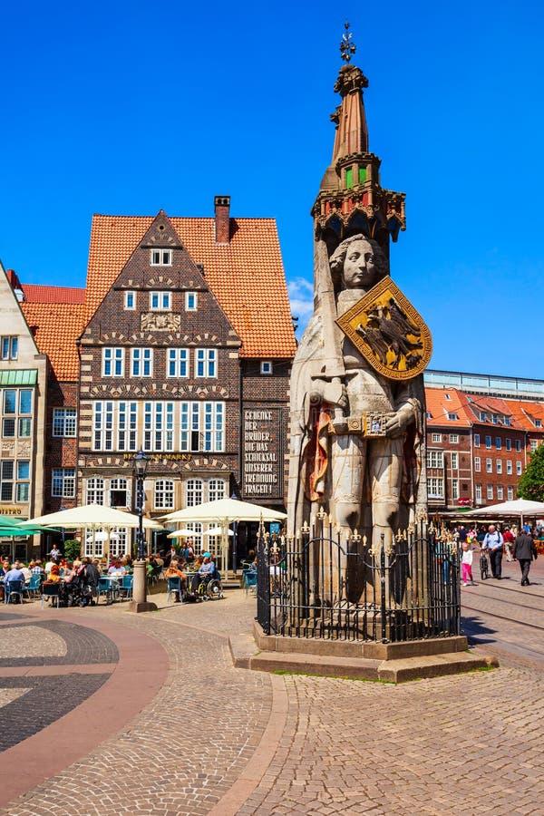 Statue Bremens Roland, Marktplatz stockfoto