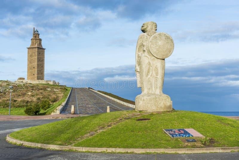Statue of Breogan in A Coruna, Galicia, Spain. stock photo