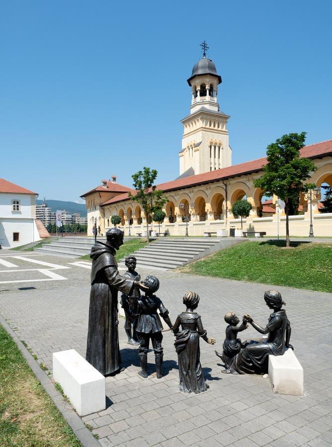Statue bronzee in Alba Iulia Citadel, Romania fotografia stock libera da diritti