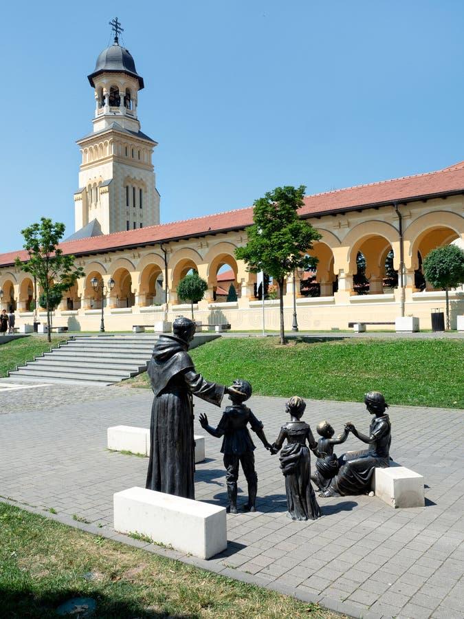 Statue bronzee in Alba Iulia Citadel, Romania immagine stock