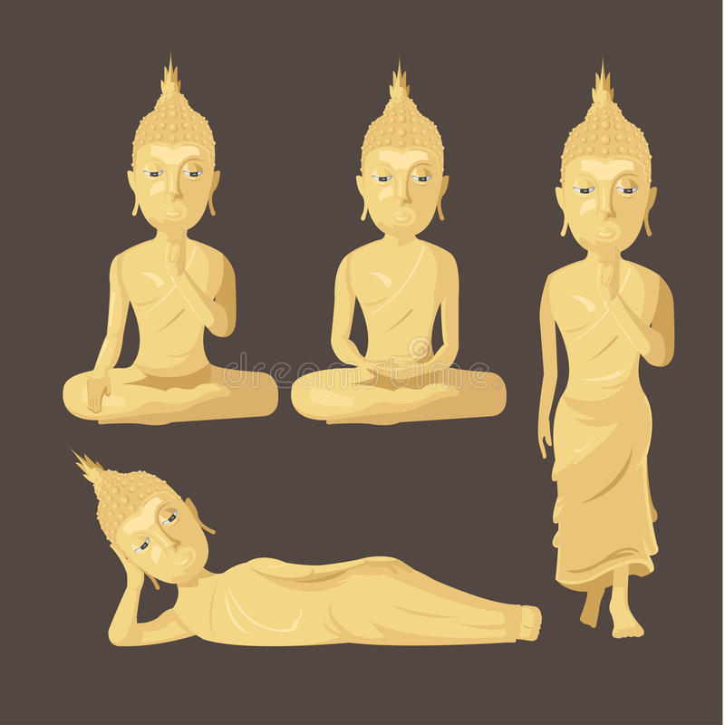 Statue Buddha Figure Collection Set Vector stock illustration
