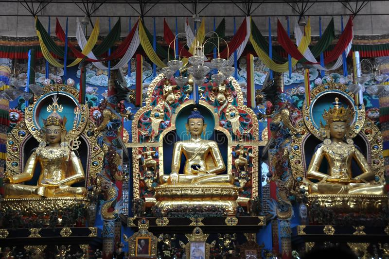 Statue of Buddha in Golden Color with two other statues in a Monastry at Coorg stock photo