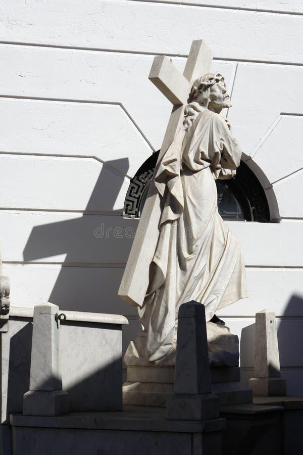 Statue Buenos Aires de Jésus de cimetière de Recoleta photographie stock