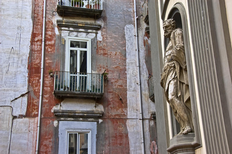 Statue and building in Naples. Church and building in Naples, italy stock image