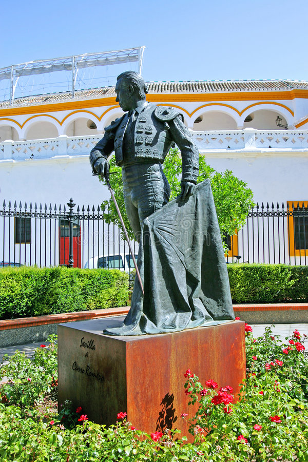 Statue of bullfighter outside bullring in Seville Spain stock photography
