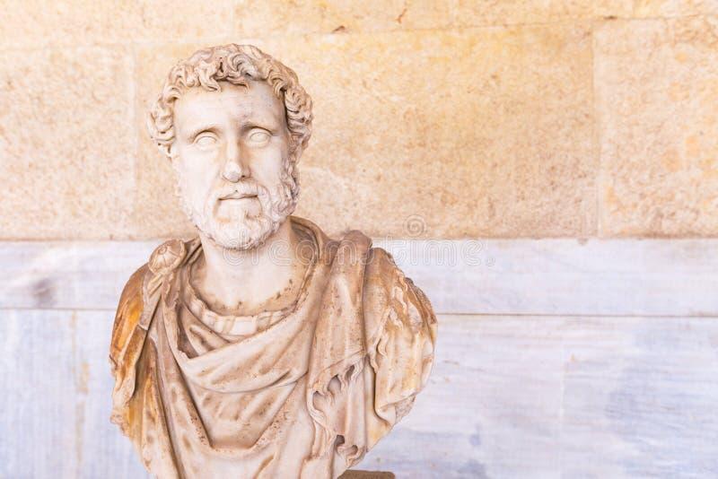 Statue bust of Roman emperor Antoninus Pius in Athens royalty free stock photo