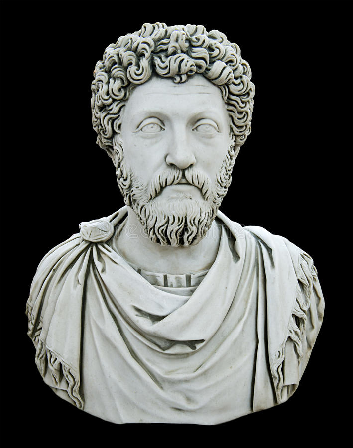 Statue Bust of a Roman Emporer, Isolated on Black. Statute bust of a Roman emperor. Gives the feel of majestic royalty and power. Isolated with a black stock photo